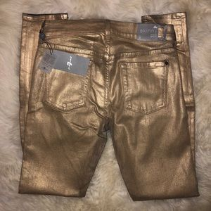 7 For All Mankind Gold Size 29 Skinny Gold